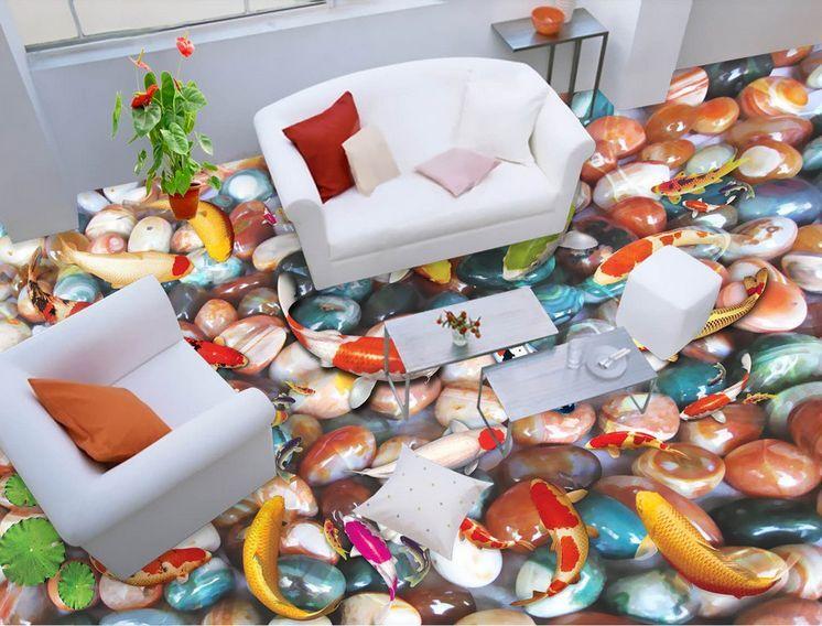 3D fish stone water 2475 Floor WallPaper Murals Wall Print Decal 5D AJ WALLPAPER