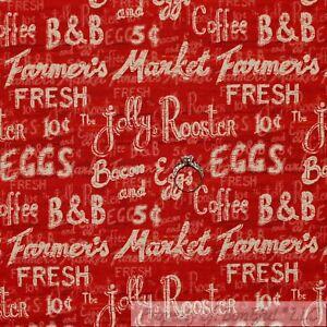 BonEful-Fabric-FQ-Cotton-Quilt-Red-Off-White-Chalk-board-Farm-Market-Word-Coffee