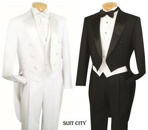 Men-039-s-Formal-Tuxedo-Prom-Wedding-Groom-Suit-Classic-Fit-With-Tail-Black-amp-White