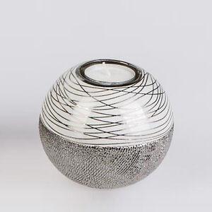 Formano-Deko-Teelicht-Leuchter-Keramik-weiss-silber-NEU