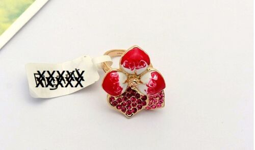 Pink Blüme Kristalle Geschenkidee Designer Damen Edel Luxus Ring Gold 18KRGP pl