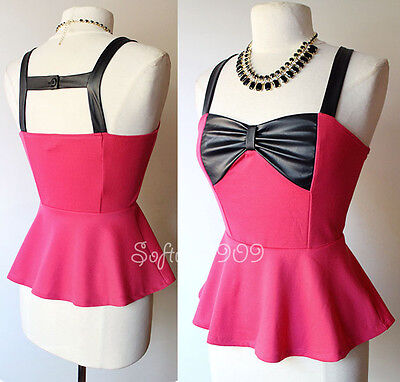 NEW Fuchsia Pink Black Edgy Faux Leather Bow Accent SEXY Cage Back Peplum Top