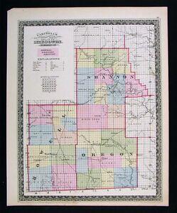 1872 Missouri Map Shannon Oregon Howell Current River Eminence