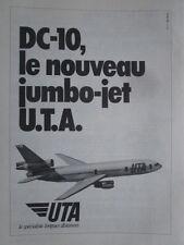 1973 PUB UTA AIRLINE MCDONNELL DOUGLAS DC-10 AIRLINER ORIGINAL FRENCH AD