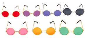 Fancy Dress Glasses Various Colours Hippie 60s 70s Hippy Lennon Ozzy