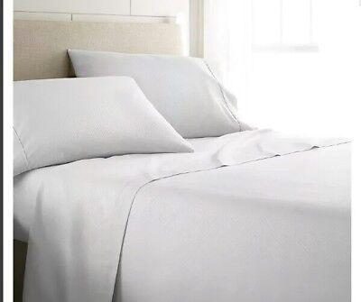 * Simply Soft 4 Pz Doppio Bianco Piatto Lenzuolo Federa In Microfibra 24:6- Ineguale Nelle Prestazioni