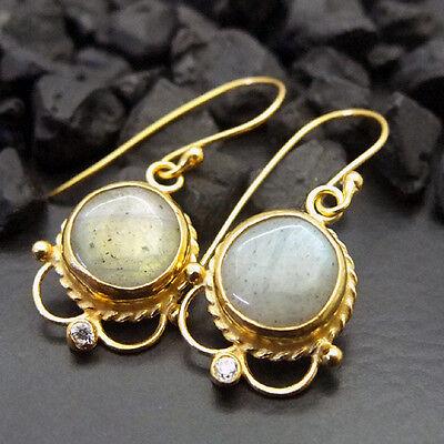 Handmade Designer Labradorite Earring W/ Topaz 22K Gold over 925 Sterling Silver