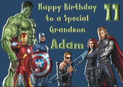 Iron Man Vengadores Personalizado A5 Cumpleaños Tarjeta hijo nieto hermano nombre edad