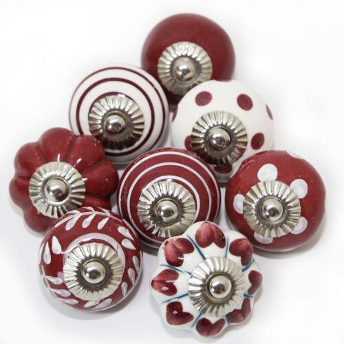 Möbelknöpfe Set 6-8-10 STK  Griffe Dunkel Rot Weiß Keramik Knöpfe Möbelknopf bw