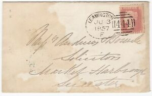 1857-WARWICKSHIRE-LEAMINGTON-SPOON-PMK-1d-STAR-COVER-TO-MARKET-HARBOROUGH