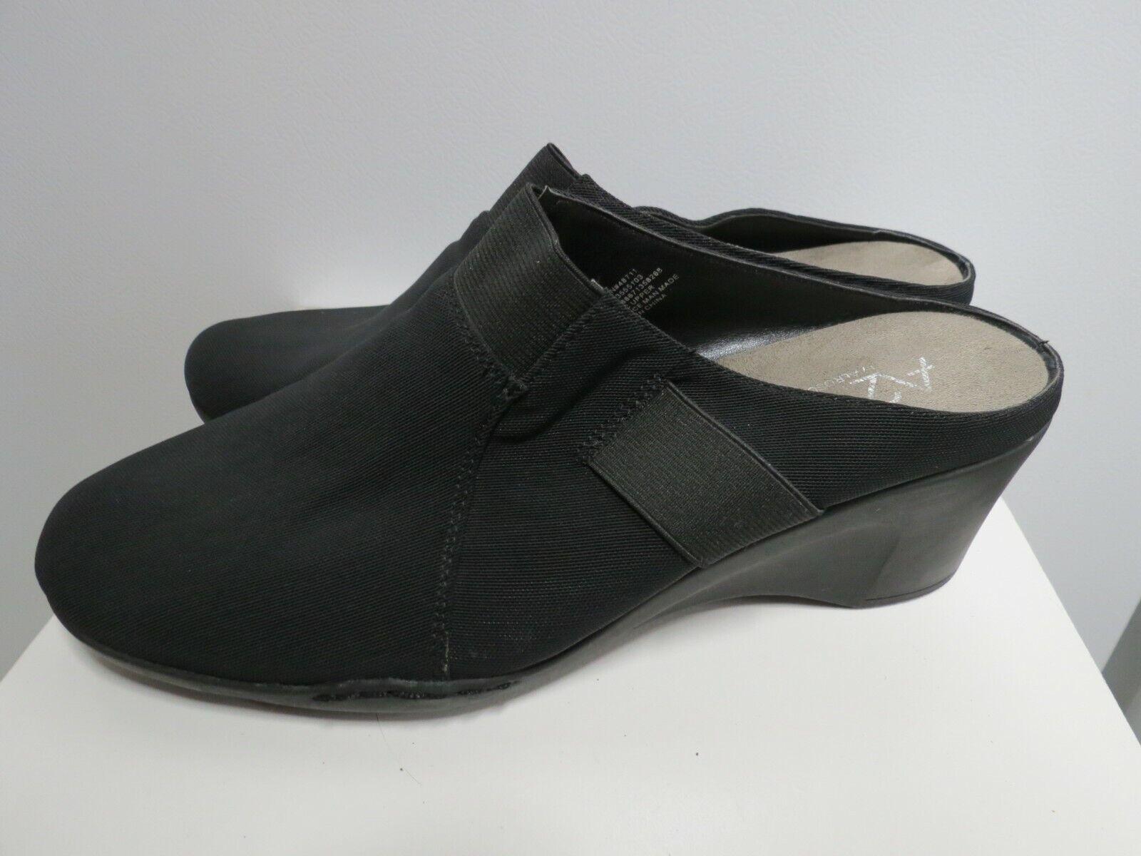 A2 by Aerosoles Women's 11 M Black Mule Shoes Slip On Wedge