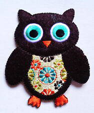 LARGE OWL WITH FLOWERS IRON ON PATCH