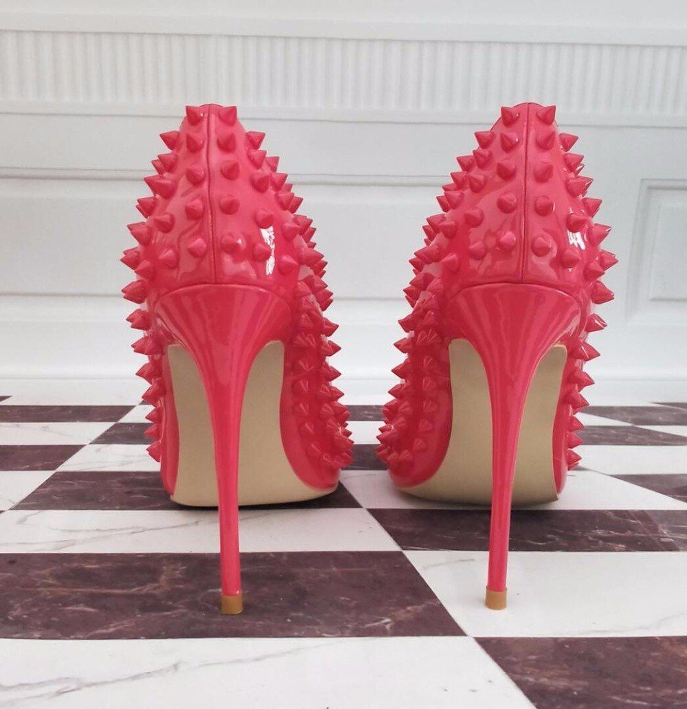 Sexy stylish high heel hot pink studded pointed stiletto pumps 12cm