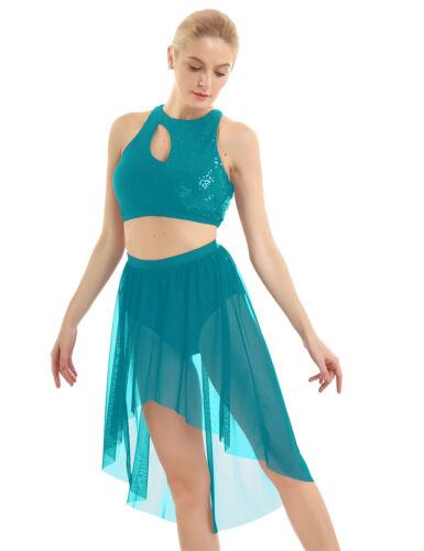Women Ballet Latin Lyrical Dance Dress Ballroom Dancewear Costume Crop Top Skirt