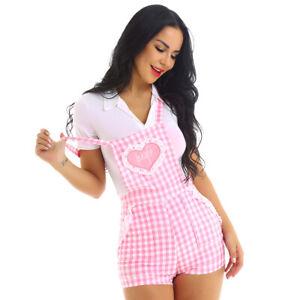 Women-039-s-Cute-Overalls-Straps-Jumpsuit-Rompers-Short-Trousers-Gingham-Shortalls