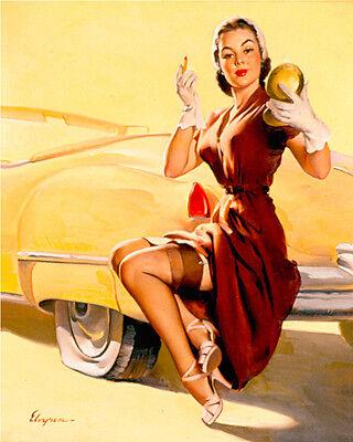 Garage Car PIN UP GIRL SHABBY CHIC  Retro ENAMEL METAL TIN SIGN WALL PLAQUE