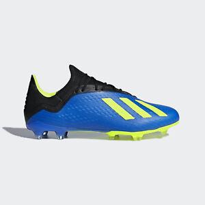 Adidas Men s X 18.2 FG Soccer Cleats (Blue Yellow Black) DA9334   6abe53e40ae3f