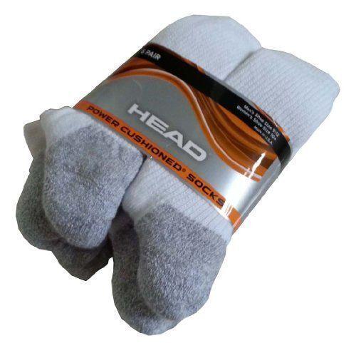 NWOT 6 PACK COSTCO HEAD POWER CUSHIONED SOCKS WHITE MEN/'S SIZE 9-12 CUSHION