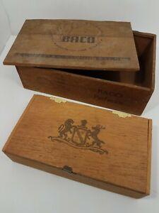 Wood-Cigarette-amp-Cigar-Vintage-Antique-Boxes-BACO-amp-034-Lion-amp-Elk-034-Lot-of-2