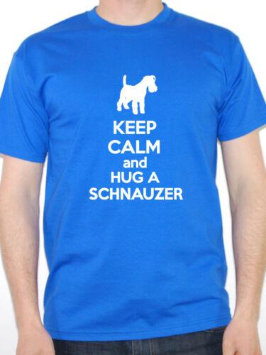 Keep Calm Et Hug un SCHNAUZER-chien allemand T-shirt homme à thème Animal animaux