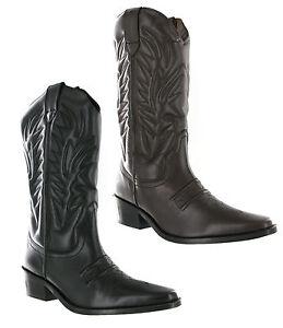 GRINGOS-Alto-CLIVE-Cowboy-Oeste-cuero-hombre-sin-cierres-en-Punta-Botas-uk6-12