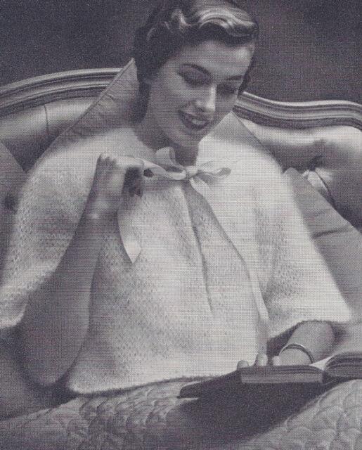 Vintage Knitting Pattern To Make Angora Bed Jacket Sweater Warm
