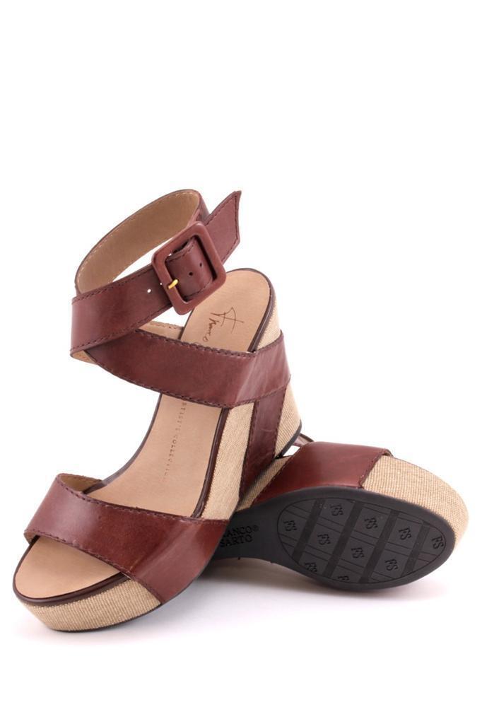 forniamo il meglio Franco Sarto Reba Reba Reba Wedge TEAK canvas leather Sandal Marrone Leather Chocolate NEW  fornire un prodotto di qualità