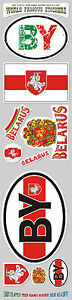 Belarus 10 stickers set Belarusian flag decal bumper stiker car auto bike laptop