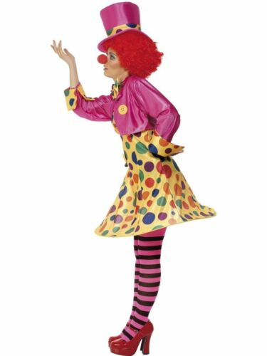 Ladies Circus Clown Costume Funny Comic Relief Women Fancy Dress Uk 8-22