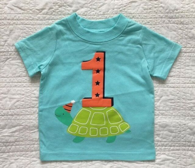 New Infants 1 Birthday T Shirt Aqua Boy Or Girl By Carters 2 Sizes