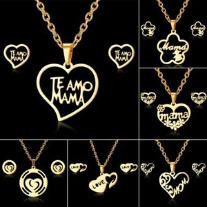 Charm-Stainless-Steel-MOM-Heart-Flower-Chain-Necklace-Earrings-Jewelry-Set-Gifs