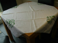 VINTAGE WHITE COTTON LINEN TABLECLOTH 44.5 x 40.5 in UNUSUAL GREEN EMBROIDERY