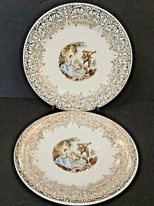 American-Limoges-Triumph-Serenade-Saucers-IT-S-284-China-D-039-Or-22K-Gold-Lot-of-2