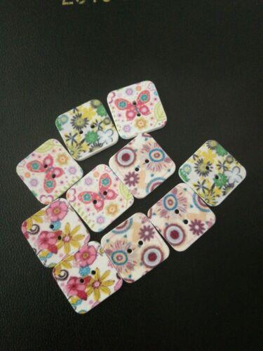 Cuadrado Patrón pintado de blanco botones madera X10 Aprox 2 Cm Nuevo 2 agujeros