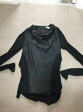 Helmut Lang USA Black Lambs Leather Fitted Jersey Top S 8 Long Sleeve