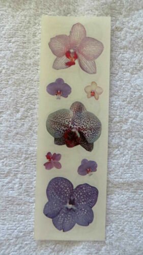 Sandylion ORCHIDS Strip With Purple VINTAGE Stickers RETIRED VERY RARE/'