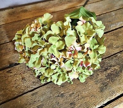1 Green Faux Silk Hydrangea, Realistic Artificial Flower