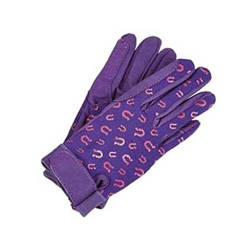 kids equestrian Elico Ravensdale Childrens riding gloves purple//pink