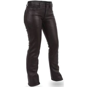 NEW WOMENS LEATHER MOTORCYCLE BIKER 5 POCKET PANTS/JEANS SIZE 14