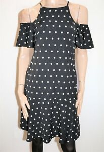 CAROLINE-MORGAN-Black-White-Polka-Dot-Cold-Shoulder-Dress-Size-8-BNWT-SL91
