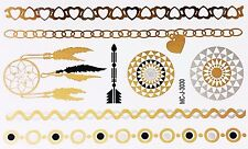 Tattoo Gold Silber Schwarz Einmal Klebe Flash Temporary 8teile Armband WOW 3030
