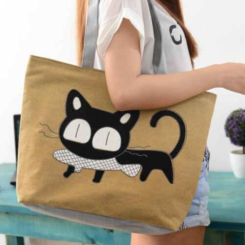 Fashion Cute Cartoon Cat Femmes Toile Sacs Épaule Sac Casual Sac à main Femmes Sac