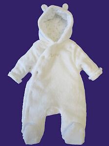 565db5dae35e Baby Girl Boy Unisex White Ex Mother-care Warm Snowsuit Pramsuit ...