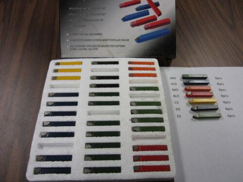 "5//16/"" carbide tipped brazed tool bits,38pcs//set,AR5,AL5,BR5,BL5,C5,D5,E5---new"