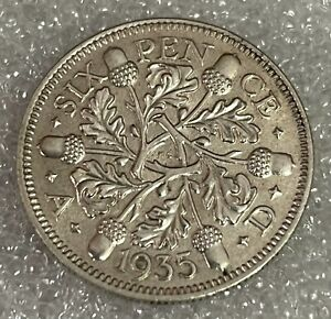 Stunning Detailed Grade - 1935 Great Britain Sixpence - George V  #216