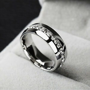 Unisex-Wedding-Gift-Silver-Titanium-Stainless-Steel-Plain-Ring-Crystal-Size-7-11