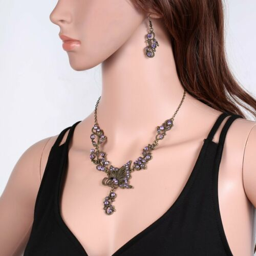 Vintage Butterfly Crystal Rhinestone Bridal Necklace Earrings Set Women Jewelry
