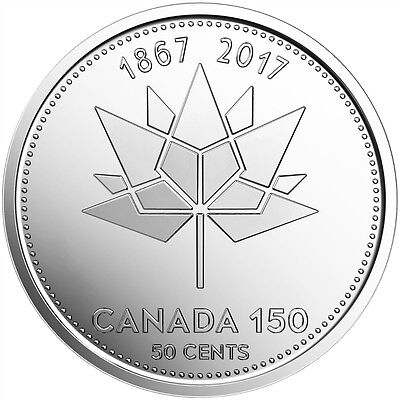 1-CANADA 2017 New 50 cents 150th Anniversary of CANADA direct from mint roll..
