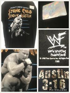 Mint-Vtg-1998-WWF-Dont-Mess-With-Stone-Cold-vs-The-Rock-Johnson-L-42-034-T-Shirt