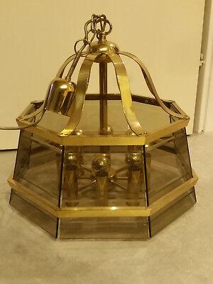 Jbs Luxus 8-flamm. Messing Leuchter Facette Geschliffenes Rauchglas Vintage 70er